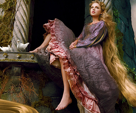 Taylor Swift Poses as Rapunzel for Disney Parks