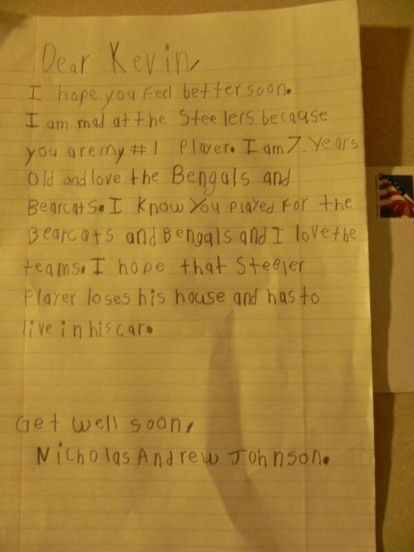 """Kid's Letter: """"I hope that Steeler player loses his house and has to live in his car"""""""
