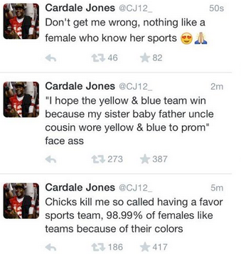 cardale jones female sports fans twitter