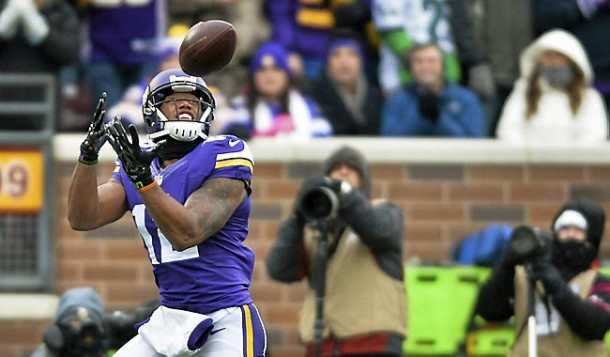 Minnesota Vikings wide receiver Charles Johnson catches a long pass for a touchdown in the in first quarter  as the Minnesota Vikings play the New York Jets at TCF Bank Stadium in Minneapolis on Sunday, December 7, 2014. (Pioneer Press: Ben Garvin)