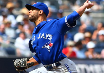 Aug 8, 2015; Bronx, NY, USA; Toronto Blue Jays starting and winning pitcher David Price (14) pitches in the seventh inning against the New York Yankees at Yankee Stadium. The Blue Jays defeated the Yankees 6-0. Mandatory Credit: Andy Marlin-USA TODAY Sports