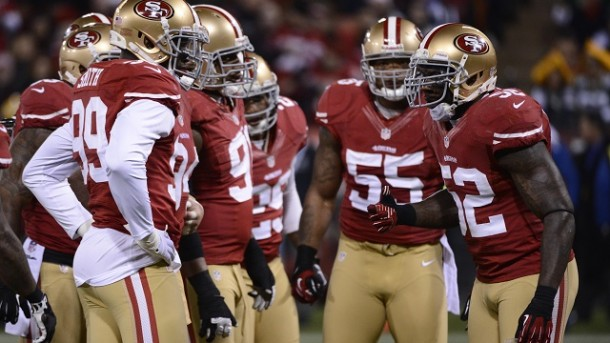 Jan 12, 2013; San Francisco, CA, USA; San Francisco 49ers inside linebacker Patrick Willis (52) leads a huddle against the Green Bay Packers during the second quarter of the NFC divisional round playoff game at Candlestick Park. Mandatory Credit: Robert Hanashiro-USA TODAY Sports