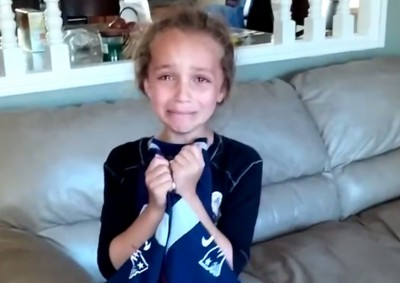 little girl patriots fan surprised with tickets