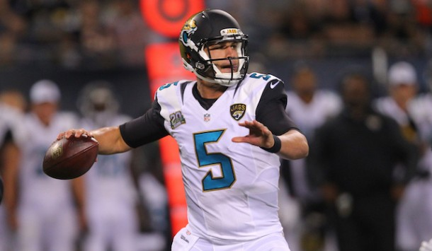 Aug 14, 2014; Chicago, IL, USA; Jacksonville Jaguars quarterback Blake Bortles (5) throws a pass during the first half of a preseason game against the Chicago Bears at Soldier Field. Mandatory Credit: Dennis Wierzbicki-USA TODAY Sports
