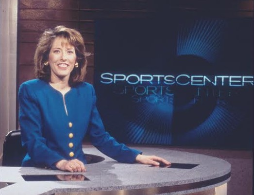 Bristol, CT: 1997 Studio host Linda Cohn is shown sitting on the SportsCenter studio set. Credit: John Atashian/ESPN Images